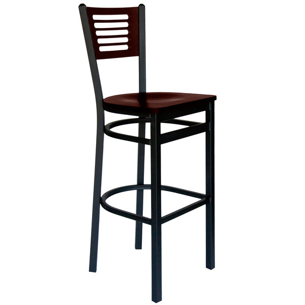 BFM Seating 2151BWAW-WASB Espy Sand Black Metal Bar Height Chair with Walnut Wooden Back and Seat