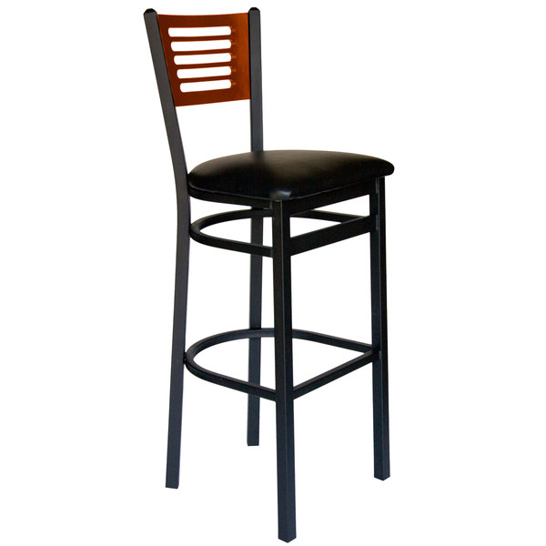 """BFM Seating 2151BBLV-CHSB Espy Sand Black Metal Bar Height Chair with Cherry Wooden Back and 2"""" Black Vinyl Seat Main Image 1"""