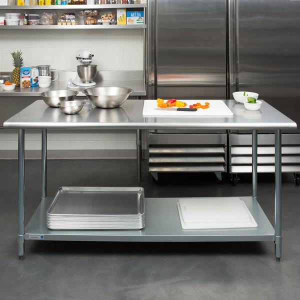 "Steelton 30"" x 72"" 18 Gauge 430 Stainless Steel Work Table with Undershelf Main Image 3"