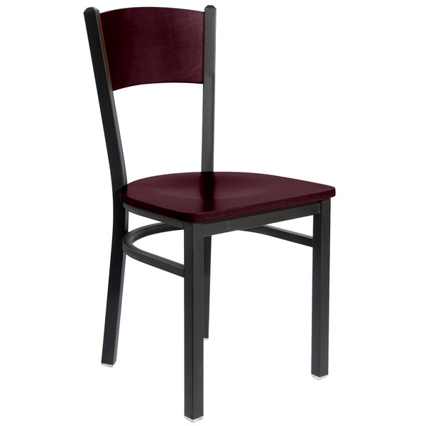 BFM Seating 2150CMHW-MHSB Dale Sand Black Metal Side Chair with Mahogany Finish Wooden Back and Seat
