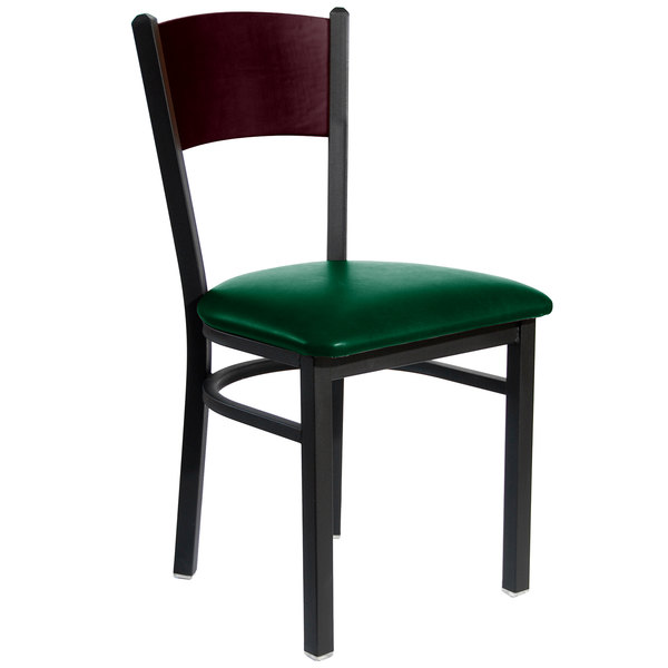 "BFM Seating 2150CGNV-MHSB Dale Sand Black Metal Side Chair with Mahogany Finish Wooden Back and 2"" Green Vinyl Seat Main Image 1"