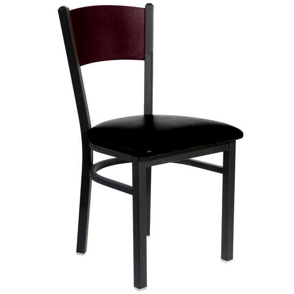 """BFM Seating 2150CBLV-MHSB Dale Sand Black Metal Side Chair with Mahogany Finish Wooden Back and 2"""" Black Vinyl Seat Main Image 1"""