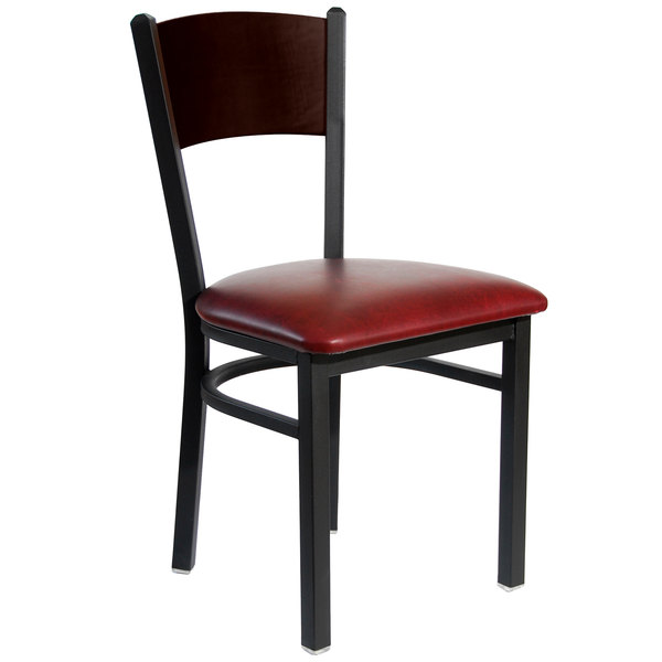 """BFM Seating 2150CBUV-WASB Dale Sand Black Metal Side Chair with Walnut Finish Wooden Back and 2"""" Burgundy Vinyl Seat Main Image 1"""