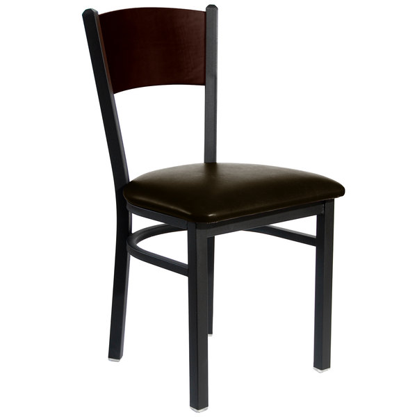 "BFM Seating 2150CDBV-WASB Dale Sand Black Metal Side Chair with Walnut Finish Wooden Back and 2"" Dark Brown Vinyl Seat"