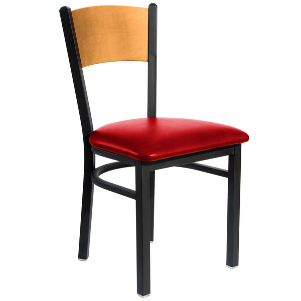 """BFM Seating 2150CRDV-NTSB Dale Sand Black Metal Side Chair with Natural Finish Wooden Back and 2"""" Red Vinyl Seat"""
