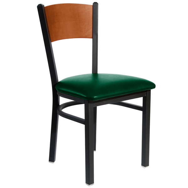 "BFM Seating 2150CGNV-CHSB Dale Sand Black Metal Side Chair with Cherry Finish Wooden Back and 2"" Green Vinyl Seat"