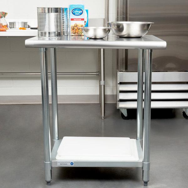 "Steelton 24"" x 30"" 18 Gauge 430 Stainless Steel Work Table with Undershelf"