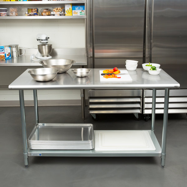 "18 Gauge Economy 30"" x 60"" 430 Stainless Steel Work Table with Undershelf"