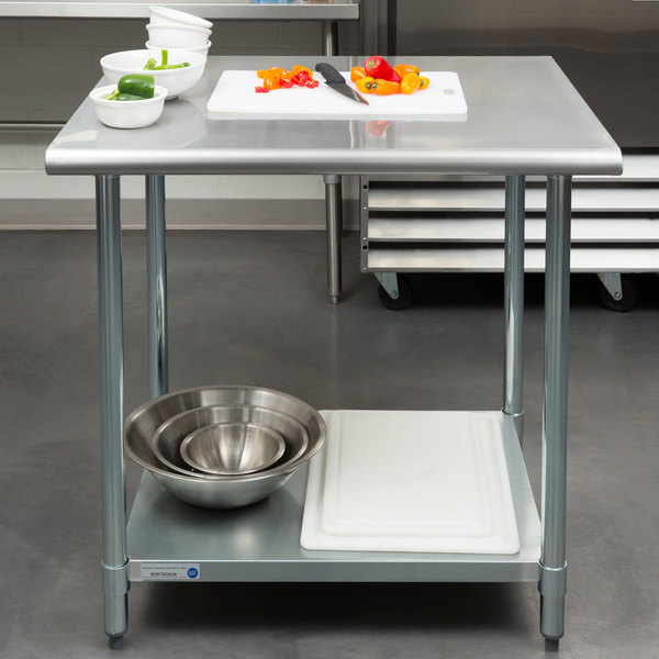 "Steelton 30"" x 36"" 18 Gauge 430 Stainless Steel Work Table with Undershelf Main Image 3"