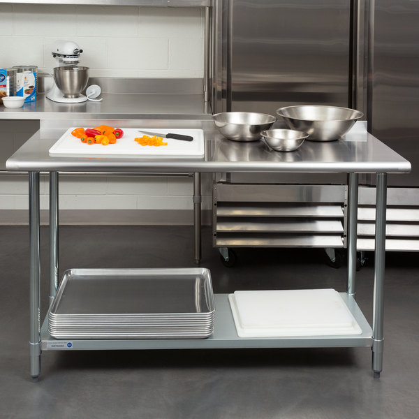 """18 Gauge Economy 24"""" x 60"""" 430 Stainless Steel Work Table with Undershelf and 2"""" Rear Upturn"""