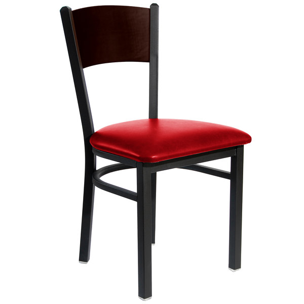 """BFM Seating 2150CRDV-WASB Dale Sand Black Metal Side Chair with Walnut Finish Wooden Back and 2"""" Red Vinyl Seat"""