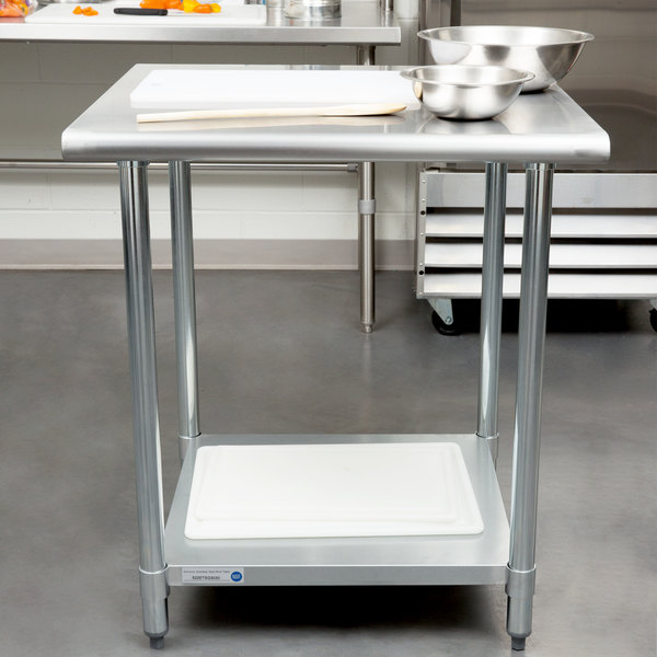 "Steelton 30"" x 30"" 18 Gauge 430 Stainless Steel Work Table with Undershelf"