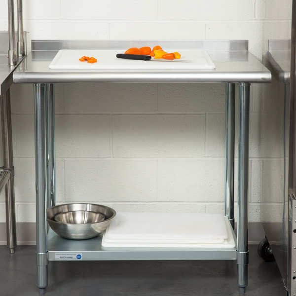 """18 Gauge Economy 24"""" x 36"""" 430 Stainless Steel Work Table with Undershelf and 2"""" Rear Upturn"""