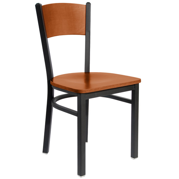 BFM Seating 2150CCHW-CHSB Dale Sand Black Metal Side Chair with Cherry Finish Wooden Back and Seat