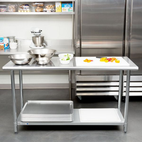 "18 Gauge Economy 24"" x 60"" 430 Stainless Steel Work Table with Undershelf"