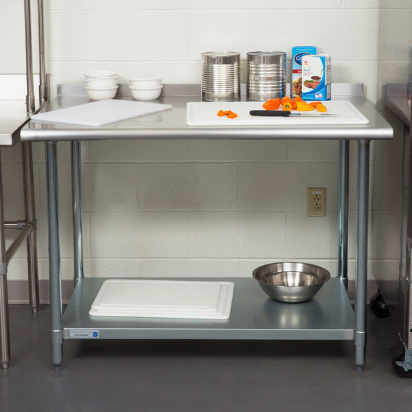 """18 Gauge Economy 30"""" x 48"""" 430 Stainless Steel Work Table with Undershelf and 2"""" Rear Upturn"""
