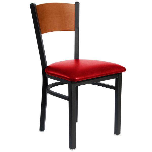 "BFM Seating 2150CRDV-CHSB Dale Sand Black Metal Side Chair with Cherry Finish Wooden Back and 2"" Red Vinyl Seat"