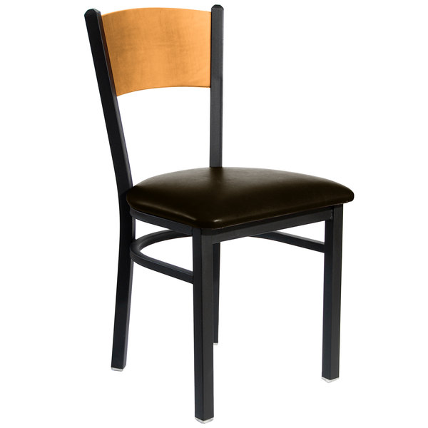"BFM Seating 2150CDBV-NTSB Dale Sand Black Metal Side Chair with Natural Finish Wooden Back and 2"" Dark Brown Vinyl Seat"
