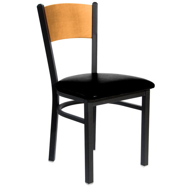 "BFM Seating 2150CBLV-NTSB Dale Sand Black Metal Side Chair with Natural Finish Wooden Back and 2"" Black Vinyl Seat"