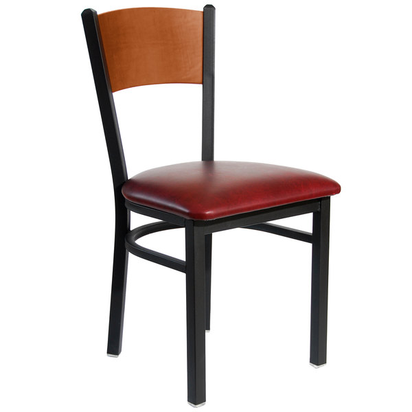 """BFM Seating 2150CBUV-CHSB Dale Sand Black Metal Side Chair with Cherry Finish Wooden Back and 2"""" Burgundy Vinyl Seat Main Image 1"""