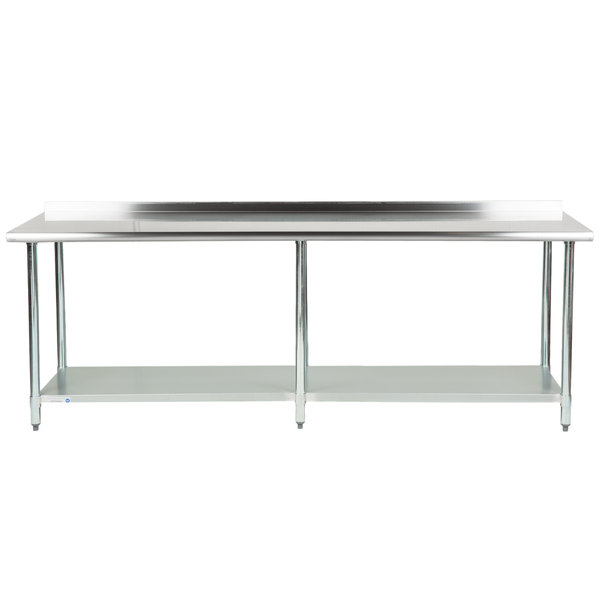 18 Gauge Economy 30 inch x 96 inch 430 Stainless Steel Work Table with Undershelf and 2 inch Rear Upturn