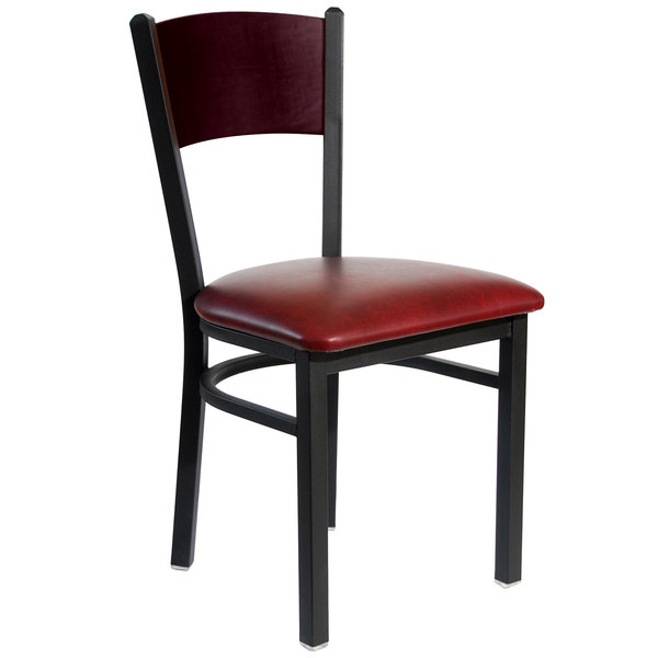 "BFM Seating 2150CBUV-MHSB Dale Sand Black Metal Side Chair with Mahogany Finish Wooden Back and 2"" Burgundy Vinyl Seat"