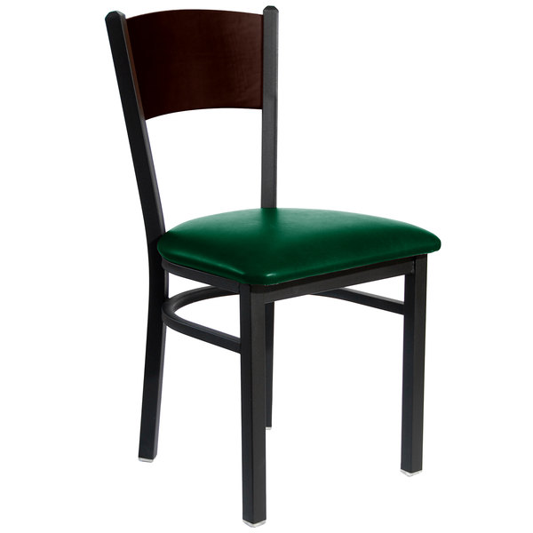 BFM Seating 2150CGNV WASB Dale Sand Black Metal Side Chair With Walnut  Finish Wooden Back And ...