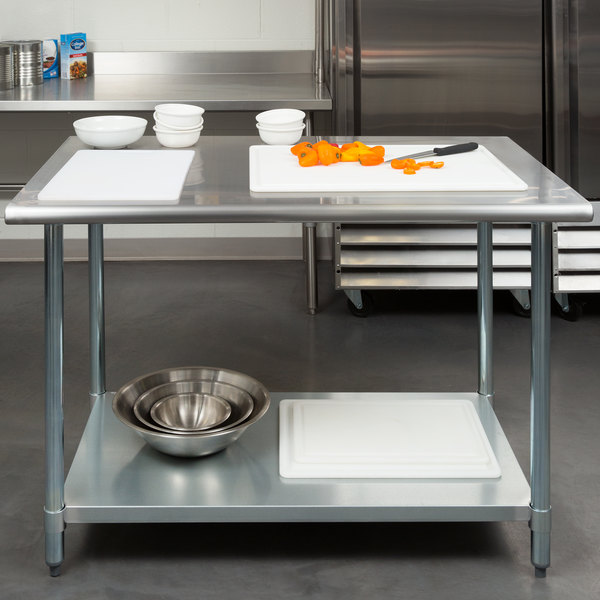 "Steelton 30"" x 48"" 18 Gauge 430 Stainless Steel Work Table with Undershelf Main Image 3"