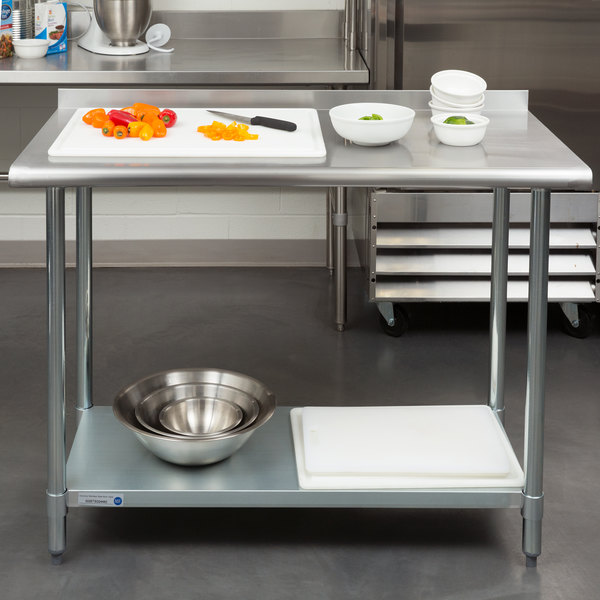 """18 Gauge Economy 24"""" x 48"""" 430 Stainless Steel Work Table with Undershelf and 2"""" Rear Upturn"""