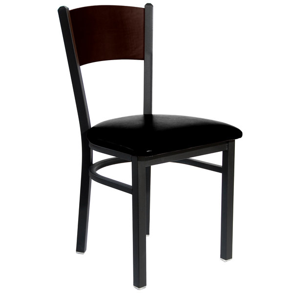 """BFM Seating 2150CBLV-WASB Dale Sand Black Metal Side Chair with Walnut Finish Wooden Back and 2"""" Black Vinyl Seat Main Image 1"""