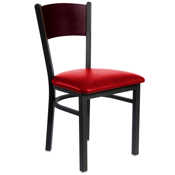 """BFM Seating 2150CRDV-MHSB Dale Sand Black Metal Side Chair with Mahogany Finish Wooden Back and 2"""" Red Vinyl Seat"""