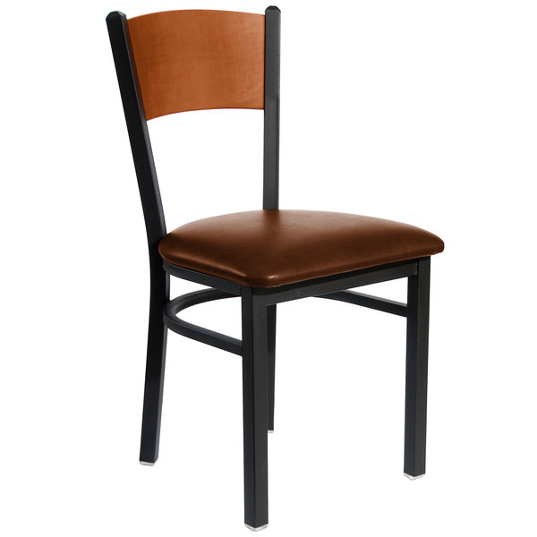 "BFM Seating 2150CLBV-CHSB Dale Sand Black Metal Side Chair with Cherry Finish Wooden Back and 2"" Light Brown Vinyl Seat Main Image 1"
