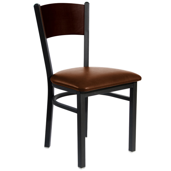 """BFM Seating 2150CLBV-WASB Dale Sand Black Metal Side Chair with Walnut Finish Wooden Back and 2"""" Light Brown Vinyl Seat Main Image 1"""