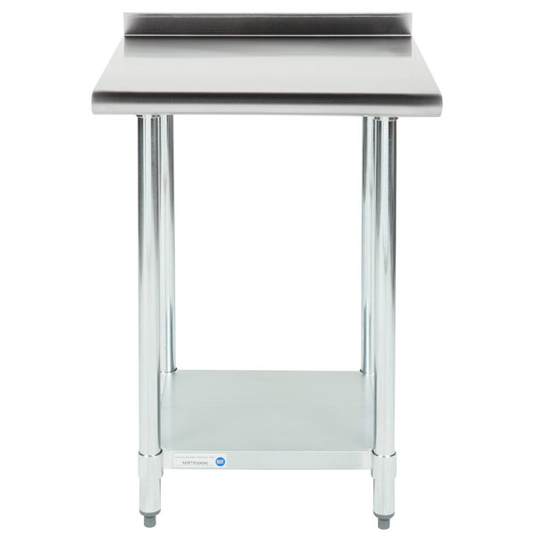 18 Gauge Economy 24 inch x 24 inch 430 Stainless Steel Work Table with Undershelf and 2 inch Rear Upturn