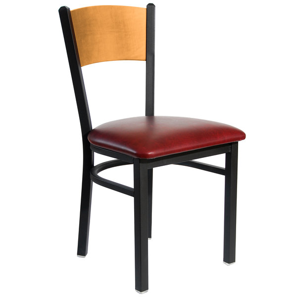 """BFM Seating 2150CBUV-NTSB Dale Sand Black Metal Side Chair with Natural Finish Wooden Back and 2"""" Burgundy Vinyl Seat"""