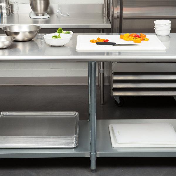 "Steelton 30"" x 96"" 18 Gauge 430 Stainless Steel Work Table with Undershelf"