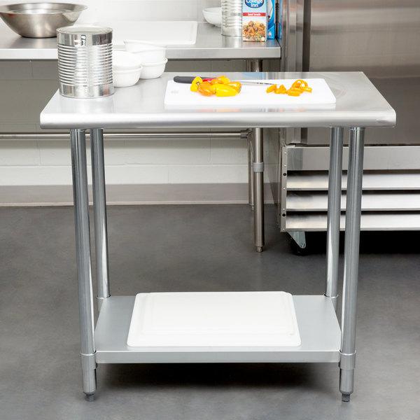 "Steelton 24"" x 36"" 18 Gauge 430 Stainless Steel Work Table with Undershelf"