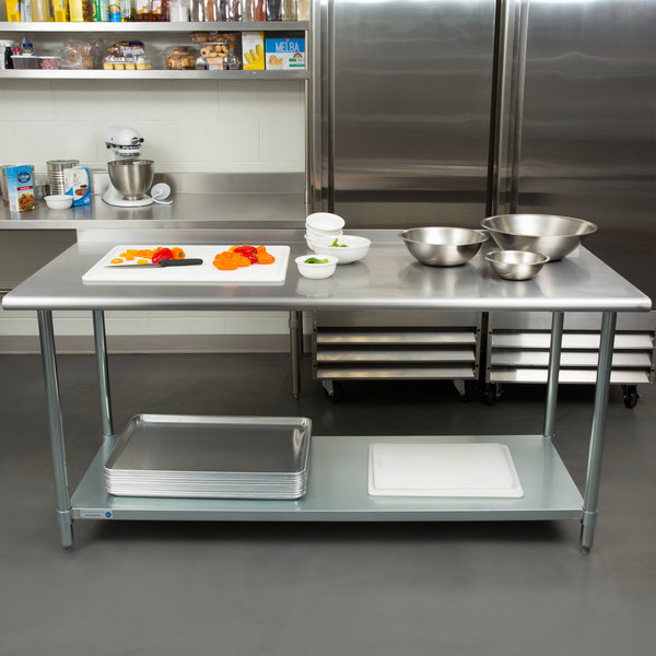 "Steelton 30"" x 72"" 18 Gauge 430 Stainless Steel Work Table with Undershelf and 2"" Rear Upturn"