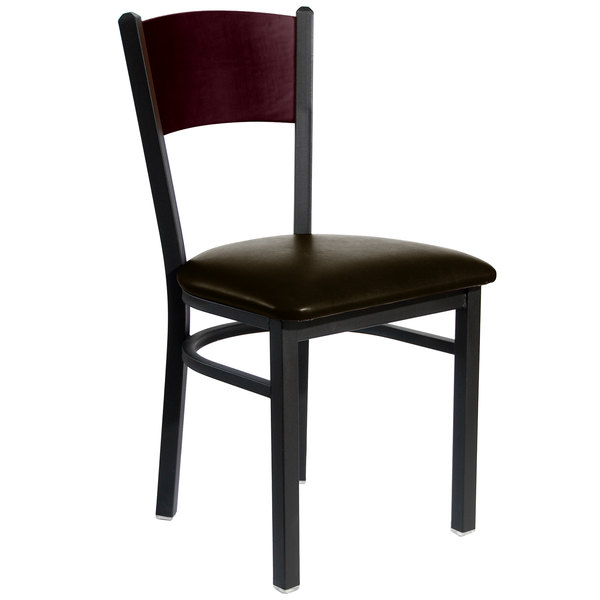 "BFM Seating 2150CDBV-MHSB Dale Sand Black Metal Side Chair with Mahogany Finish Wooden Back and 2"" Dark Brown Vinyl Seat"