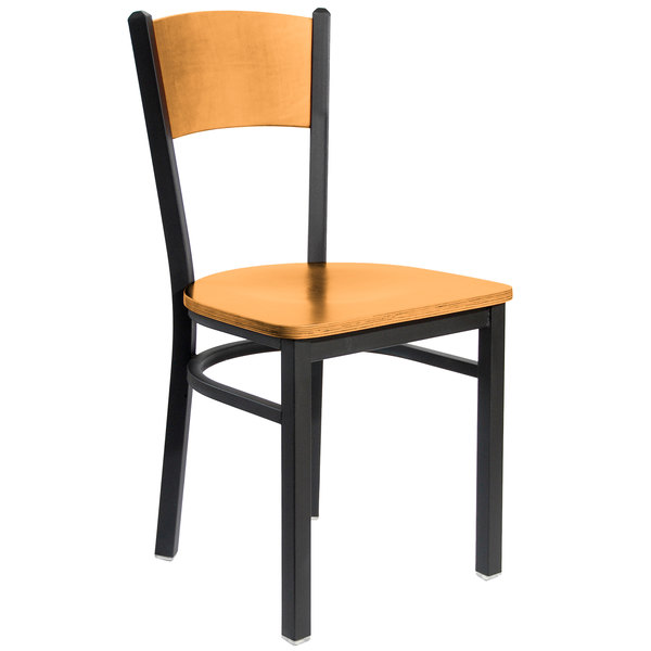 BFM Seating 2150CNTW-NTSB Dale Sand Black Metal Side Chair with Natural Finish Wooden Back and Seat Main Image 1