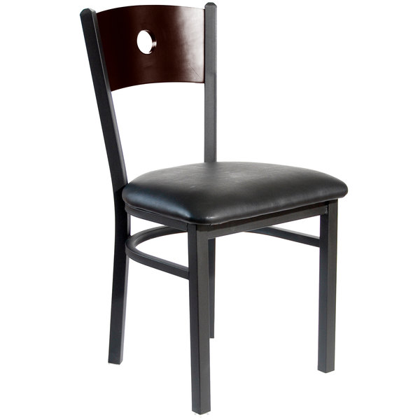 "BFM Seating 2152CBLV-WASB Darby Sand Black Metal Side Chair with Walnut Wooden Back and 2"" Black Vinyl Seat"