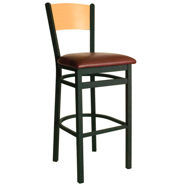 "BFM Seating 2150BBUV-NTSB Dale Sand Black Metal Bar Height Chair with Natural Finish Wooden Back and 2"" Burgundy Vinyl Seat Main Image 1"