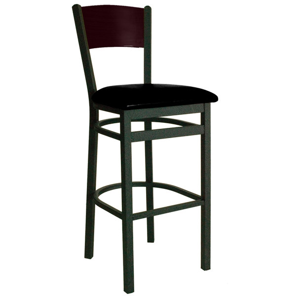 "BFM Seating 2150BBLV-MHSB Dale Sand Black Metal Bar Height Chair with Mahogany Finish Wooden Back and 2"" Black Vinyl Seat Main Image 1"