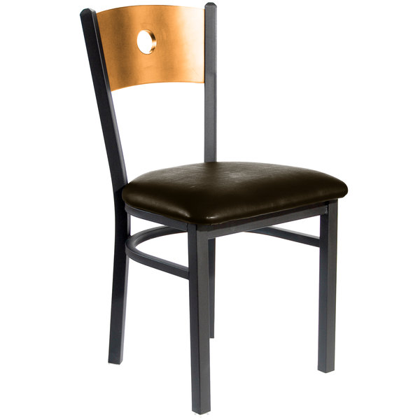 """BFM Seating 2152CDBV-NTSB Darby Sand Black Metal Side Chair with Natural Wooden Back and 2"""" Dark Brown Vinyl Seat Main Image 1"""