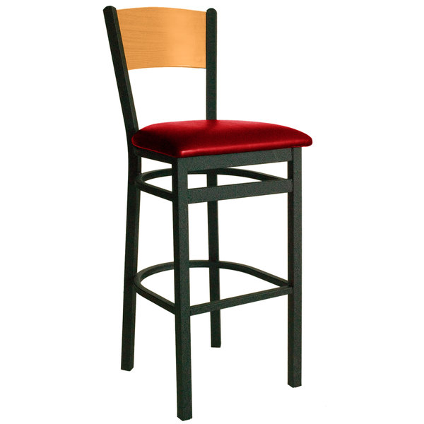 """BFM Seating 2150BRDV-NTSB Dale Sand Black Metal Bar Height Chair with Natural Finish Wooden Back and 2"""" Red Vinyl Seat"""