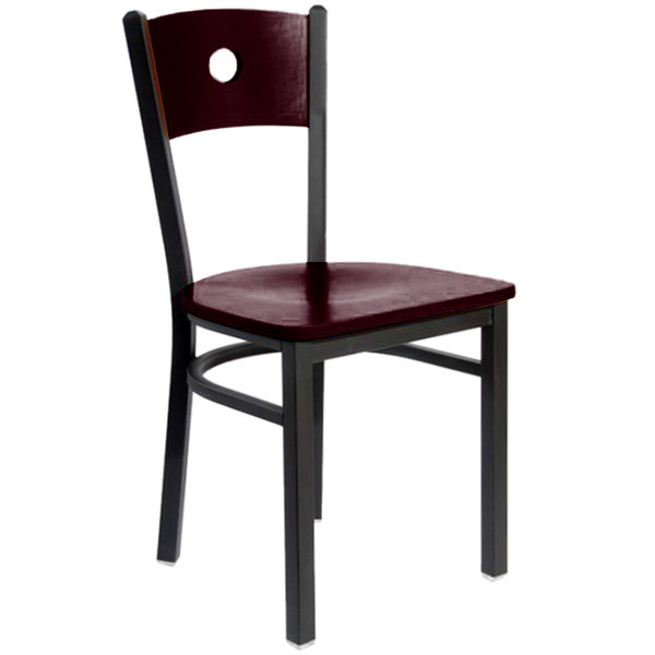 BFM Seating 2152CMHW-MHSB Darby Sand Black Metal Side Chair with Mahogany Wooden Back and Seat Main Image 1