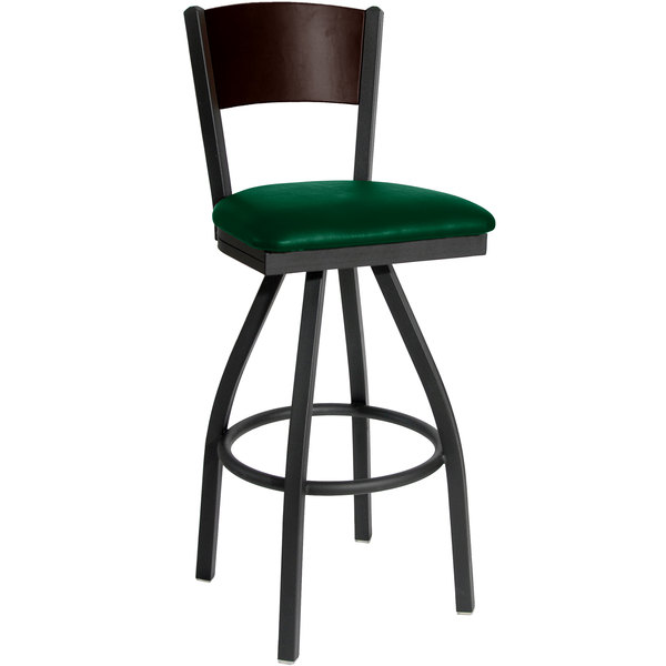 """BFM Seating 2150SGNV-WASB Dale Sand Black Metal Swivel Bar Height Chair with Walnut Finish Wooden Back and 2"""" Green Vinyl Seat"""