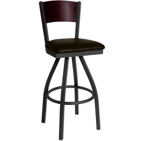 "BFM Seating 2150SDBV-MHSB Dale Sand Black Metal Swivel Bar Height Chair with Mahogany Finish Wooden Back and 2"" Dark Brown Vinyl Seat"