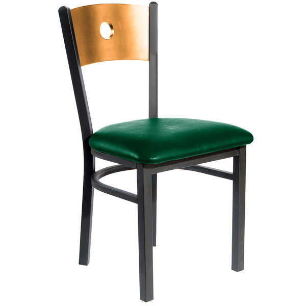 """BFM Seating 2152CGNV-NTSB Darby Sand Black Metal Side Chair with Natural Wooden Back and 2"""" Green Vinyl Seat"""