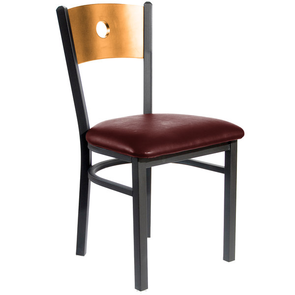 "BFM Seating 2152CBUV-NTSB Darby Sand Black Metal Side Chair with Natural Wooden Back and 2"" Burgundy Vinyl Seat"